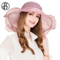 100 Mulberry Silk Ladies Royal Wedding Hats Elegant Light Purple Hat With Bowknot Large Brim Summer