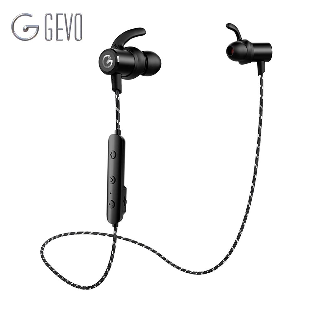 GEVO GV-18BT casque sans fil Bluetooth 5.0 Sport dans l'oreille magnétique stéréo basse casque écouteurs écouteurs pour Xiaomi téléphone