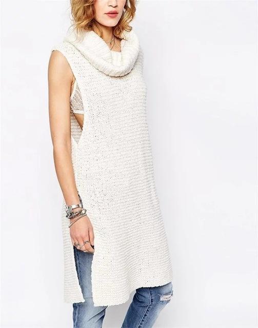 Moda 2016 mujeres del Otoño Slim Fit sin mangas suéter de Punto larga sección Novedades Mujer ropa Casual Jerseys tops
