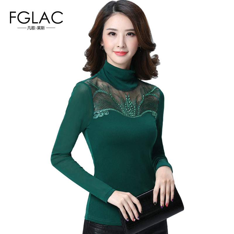 FGLAC Spring and Autumn women lace tops Fashion Casual Long sleeved Women   blouse     shirt   Turtleneck Diamonds lace   shirt   blusas