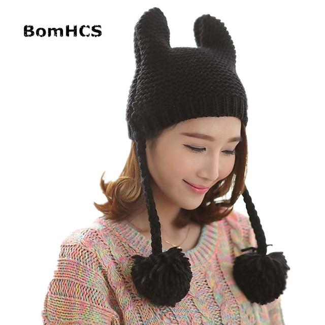 5324489f1e328 BomHCS Cute Cat Ear New 100% Handmade Knitted Beanie Women Winter Hat Ear  Muff Cap with Balls