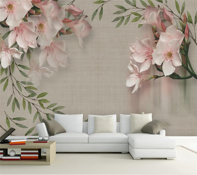Beibehang Custom Wallpaper Vintage Elegant Pink Floral Sofa TV Background Wall Home Decor Living Room Bedroom