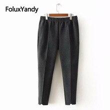 Woolen Pencil Pants Women Casual Elastic Waist Loose Stretched Plus Size Pants Elegant Trousers KKFY2974 цены