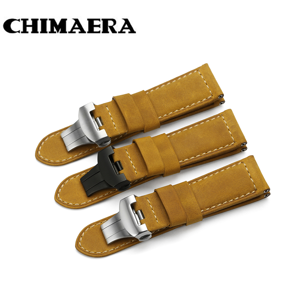 24mm Italy Genuine Leather Watch band Yellow Soft Watch Band Strap with Deployment Buckle for 24mm PANERAI Watches Bracelet lukeni 24mm camo gray green blue yellow silicone rubber strap for panerai pam pam111 watchband bracelet can with or without logo