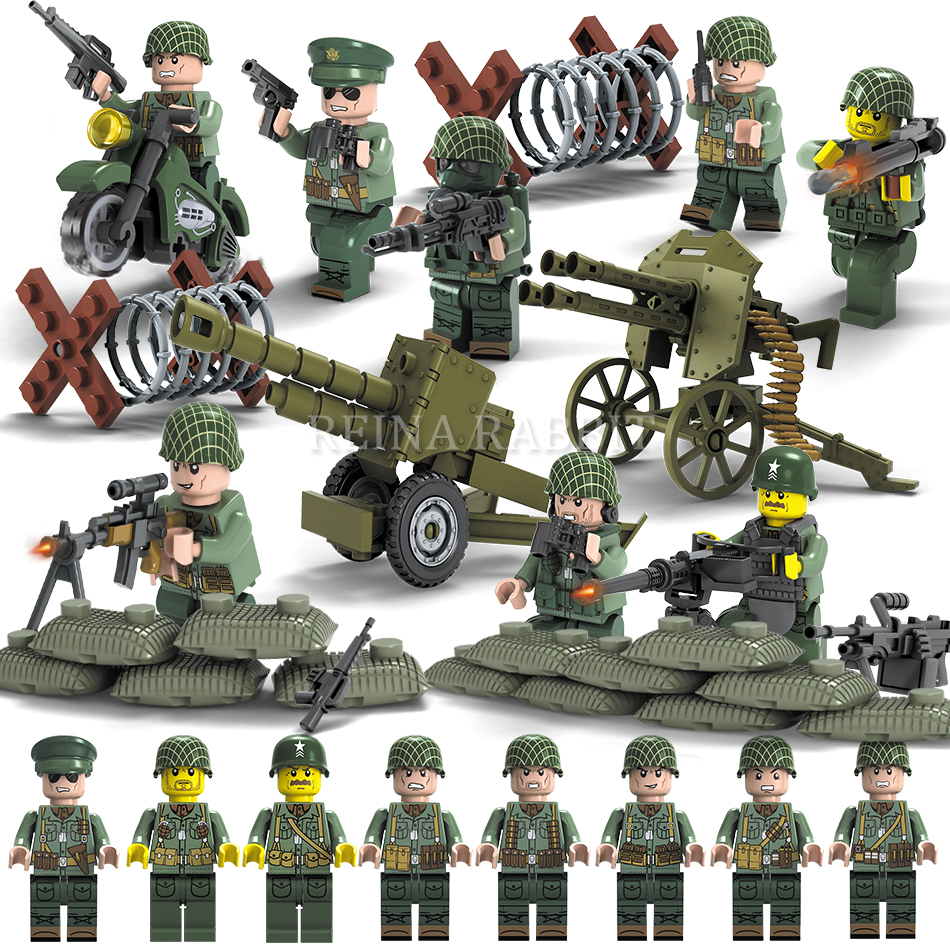 Military WW2 US Germany Soviet Soldiers Army Weapons Guns Compatible Legoed City Swat Police Figures Kid's Building Blocks Toys military swat police team ww2 trucks 2in1 building blocks compatible legoed army soldier figures city enlighten children toys