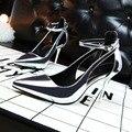 Женские Туфли На Высоком Каблуке Европейский Стиль Моды Simple Обувь Высокого каблуки Лодыжки Кружева Красный Дамы На Высоких Каблуках Черный Серый Белый новый