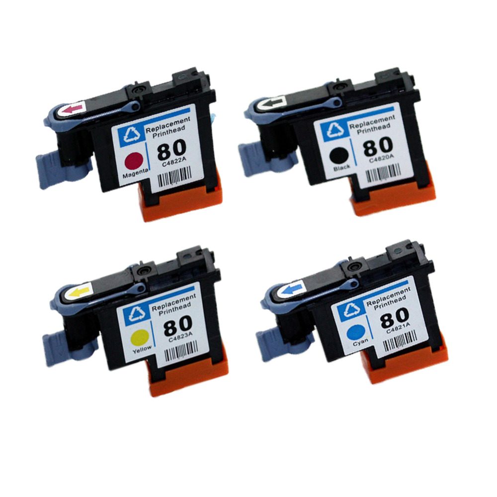 YLC 1set 4 colors C4820A C4821A C4822A C4823A for HP80 printhead for HP Designjet 1000 1000plus 1050 1055 for HP80 printer 1 set printhead cleaning kit for hp designjet 5000 5500 5100 1050 1055
