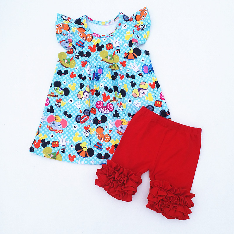 HTB18ujgbbZnBKNjSZFrq6yRLFXaE - Fashion Summer milk silk top baby girls kids boutique set Mickey Fish elephant Print matching with solid cotton short