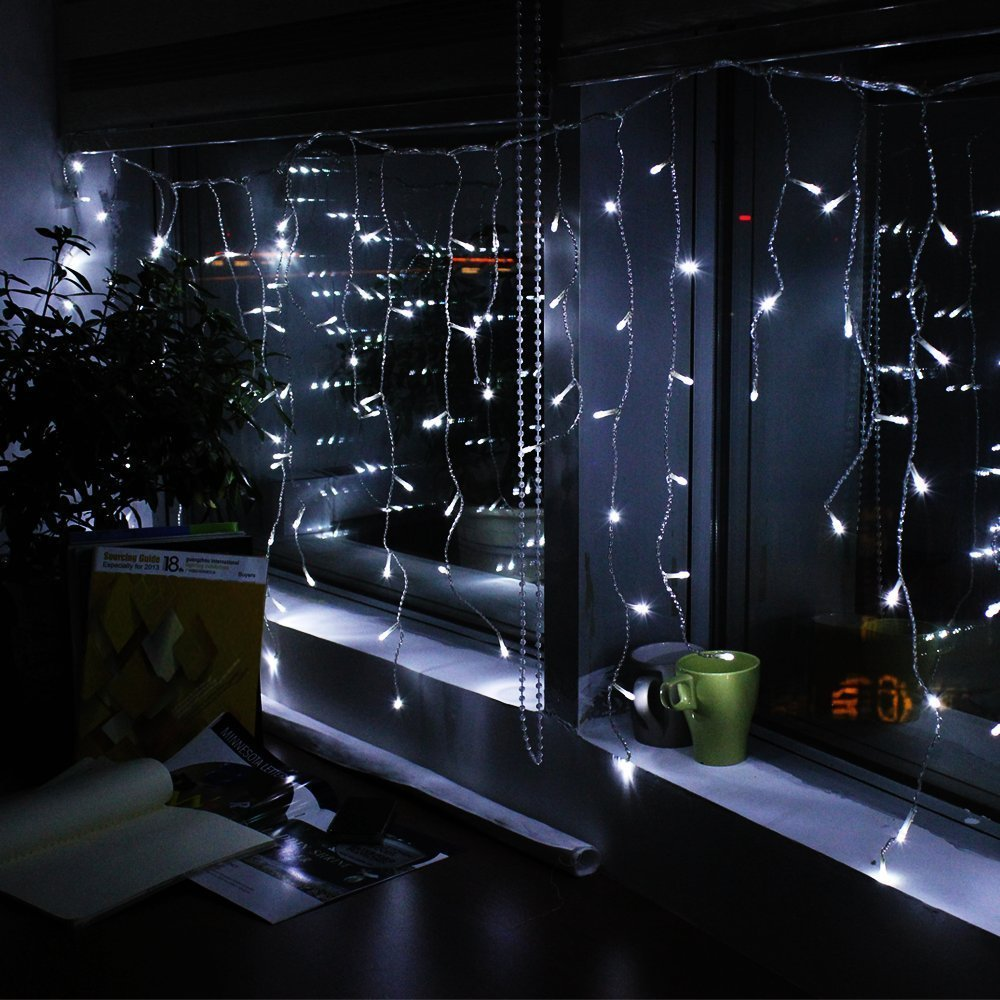 christmas home garden outdoor decoration 5m curtain icicle string lights 220v new year xmas wedding party light garland lighting in holiday lighting from