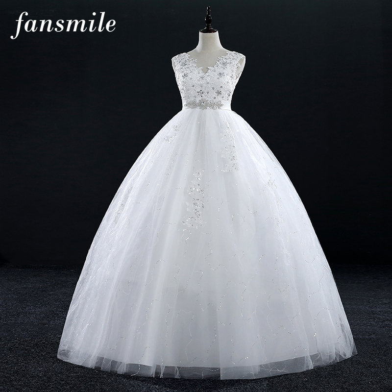 Fansmile Real Photos Vestidos de Novias Wedding Dresses 2019 Plus Size  Vintage Lace Ball Wedding Gowns 63b1e5ac9cbe