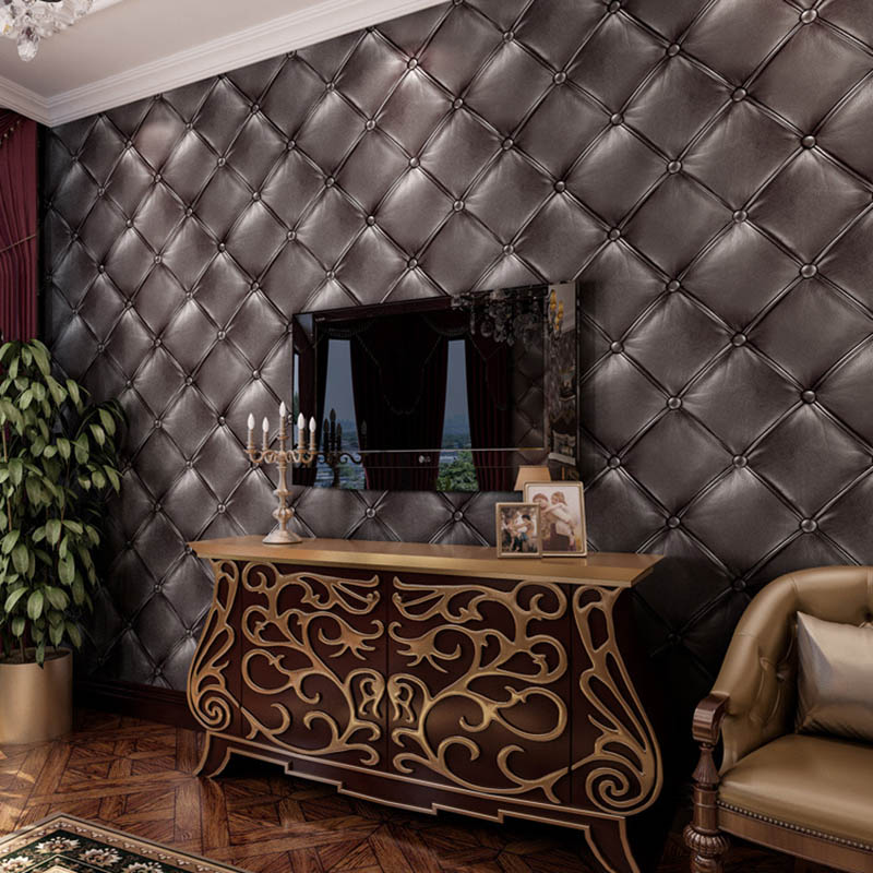 European Luxury 3D Embossed Soft Bag Imitation Leather Vinyl Wallpaper For Living Room Bedroom Background Wall Paper Home Decor