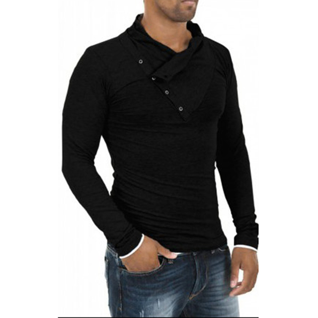 2016 New Arrival T shirt Men Fashion Solid Color Slim Fit Cool Long Sleeve T-shirt Men Tshirt Hip Hop Camisa Masculina 13M0469
