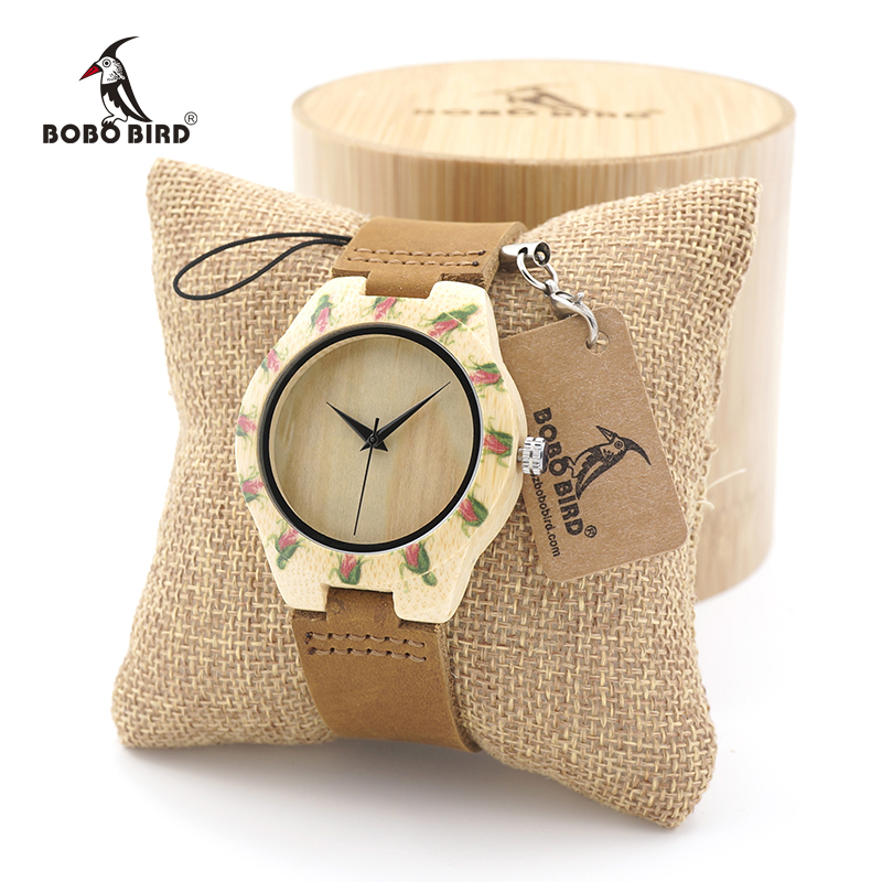 BOBO BIRD women Bamboo Wooden Watch Ladies Japanese 2035 Movement Quartz Wristwatch with Genuine Leather Band in Gift Box bobo bird f08 mens ebony wood watch japan movement 2035 quartz wristwatch with leather strap in gift box free shipping