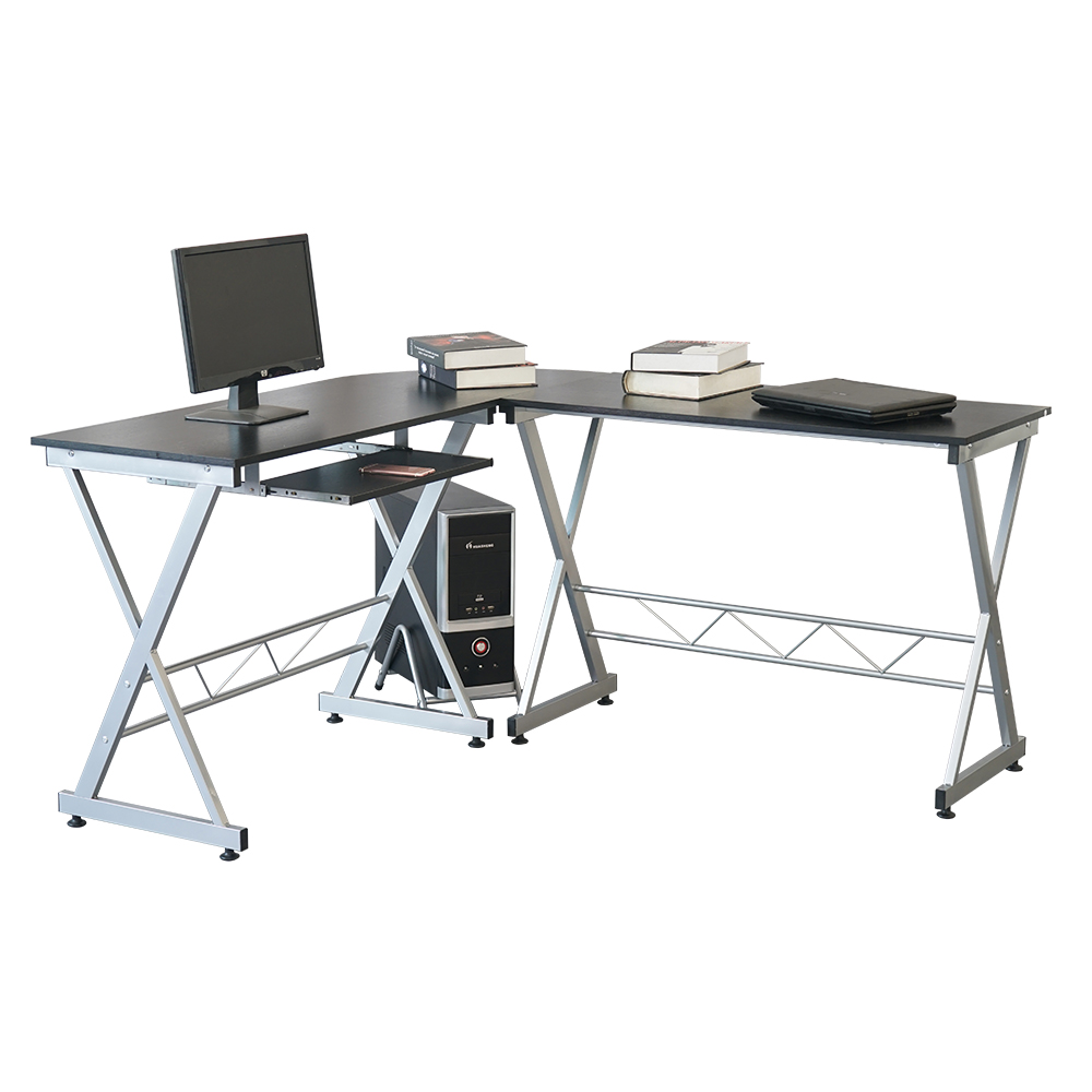 Us 98 59 L Shaped Wood Computer Desk Corner Laptop Pc Table Workstation Writing With Storage Shelves Black Stock In Desks