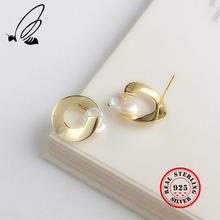 Baroque Shell Stud Earrings For Women 925 Sterling Silver Gold Color Earing Fine Jewelry Pendientes Küpe Aretes Bijoux Femme