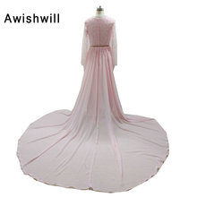 Pink Color 2017 Crystal Beadings Evening Dresses Long Sleeve Sexy Front Split Deep V-neck Long Prom Gowns Women Formal Dress