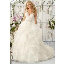 White New Fashion A-line V-neck Chapel Train Ruffles Organza Lace with Crystal Sash Sexy Backless Wedding Bridal Dresses