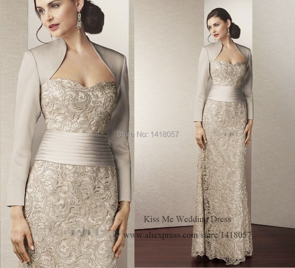 2015 New Arrival Silver Mother of the Bride Dresses with Jacket Lace Long Evening Dress Vestido de Renda Groom Mother Pant Suits
