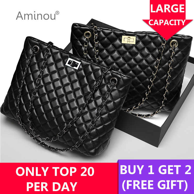 2018 Luxury Brand Women Plaid Bag Large Tote Bag Female Handbags Designer  Black Leather Big Crossbody 45798826e9357