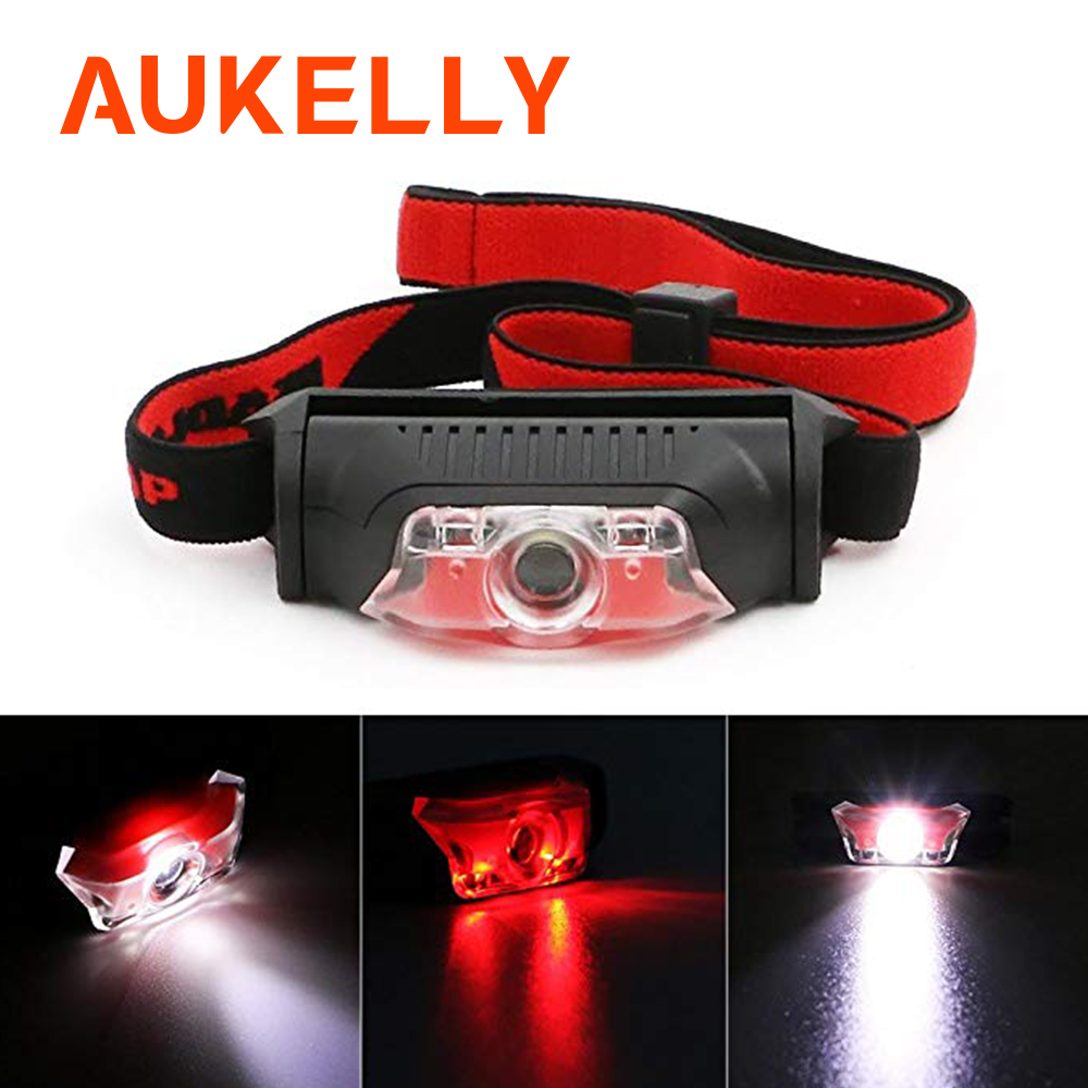 Aukelly Mini Headlamp 4 Modes Waterproof Portable Head Flashlight Multifunctional Headlight Working Outdoor Hand Lantern Use AA