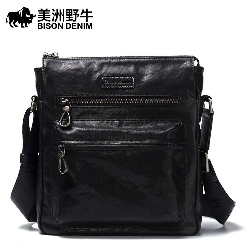 2017 New Hot Men Shoulder Bags BISON DENIM Brand Genuine Leather Messenger Bag Men's Business Casual Travel Bags Free Shipping