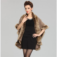 Hot Sale New Fashion Cashmere Imitation Fox Fur Coat Cardigan Women Poncho Knitted Sweater Lady Scarves