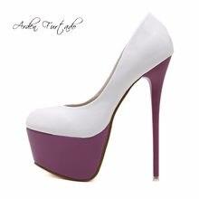 bba6c7cc628376 Arden Furtado 2018 spring autumn slip on fashion super sexy high heels 16cm  stilettos pumps big