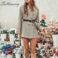Sollinarry New Fashion Notched Lapels Autumn Blazer Coat Women Buttons Pockets Loose Plaid Blazer Women Casual Oversize Jackets