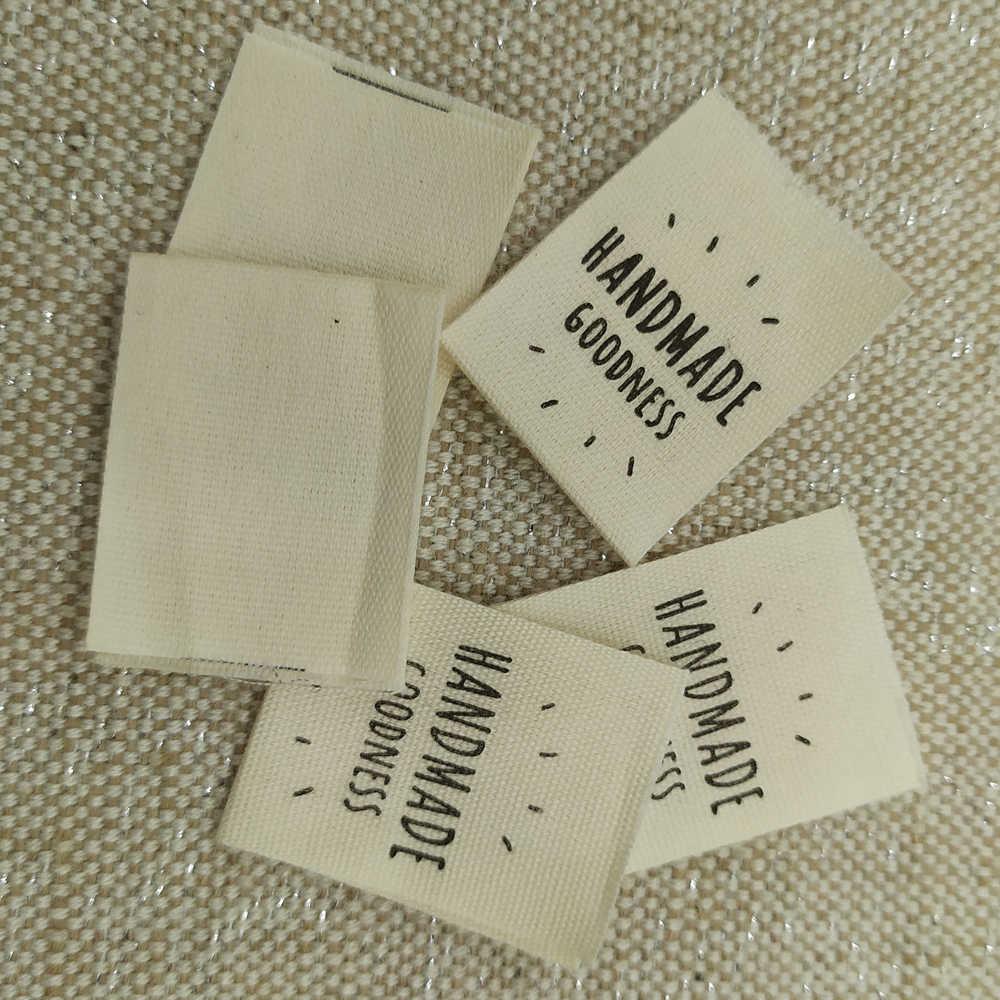 Etiquetas de algodón estampadas hechas a mano para bolsas para ropa, zapatos, etiquetas de tela hechas a mano para etiquetas de costura