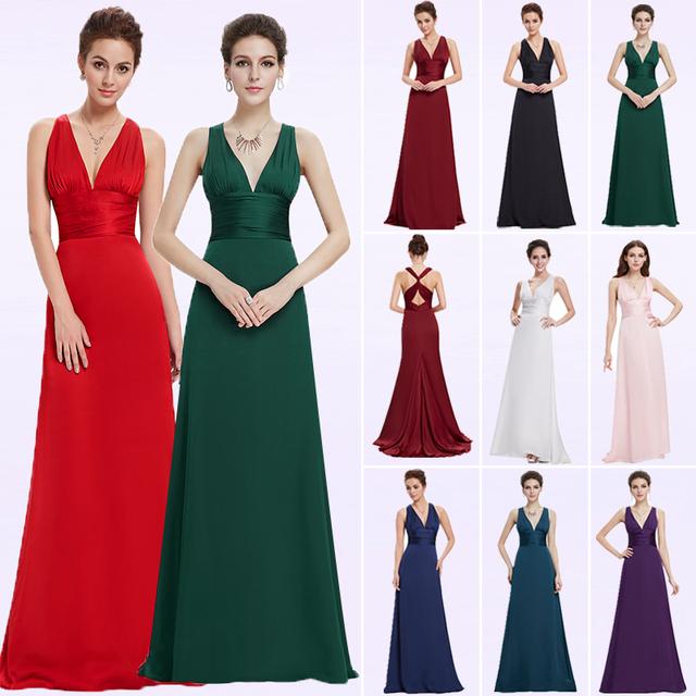 Evening Dress Ever Pretty EP09008 A-line Double V-neck Sleeveless Elegant Evening Dresses Long Formal Party Dresses for Women