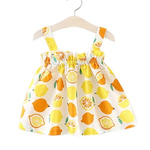 Baby Girls Dress Toddler Infant Baby Lemon Print Party Dresses For Kids Summer Sleeveless Strap Princess Dress 2 to 7 Years Old(China)