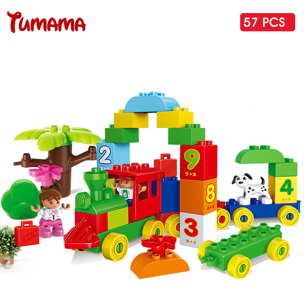 Big Size Building Blocks Number Train Bricks Compatible with Legoed Duplo 57PCS DIY Educational Toys For Children Gift Blocks 95pcs big size princess collection super busy market model building blocks bricks kid gift compatible with lego duplo