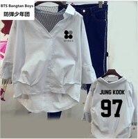 Primavera verano otoño mujeres camiseta KPOP BTS versión Coreana de Encaje Cobertura Algodón Blanco azul Carta impresión Manga Falso de dos piezas