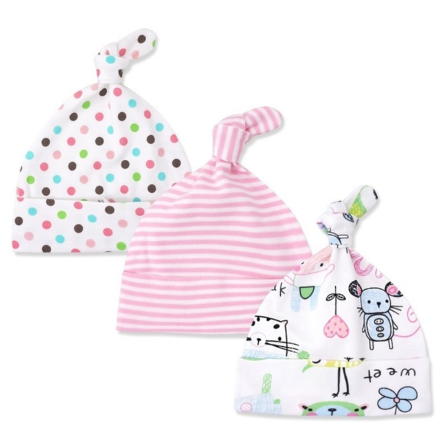 Baby's Printed Cotton Fitted Hats 3 pcs Set
