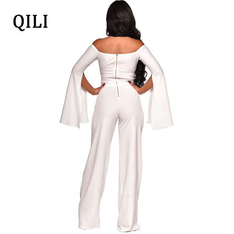 QILI Women Off Shoulder Split Long Sleeve Jumpsuits Rompers Hollow Out Wide Leg Jumpsuit White Blue Red Fashion Casual Jumpsuits in Jumpsuits from Women 39 s Clothing