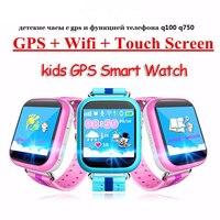 Q100 Q750 Vwar GPS relógio inteligente relógio bebê com Wifi tela sensível ao toque Chamada SOS Dispositivo de Localização Rastreador para o Miúdo PK Seguro Q50 Q60 Q80