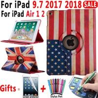 360 Roterende Lederen Ons Uk Canada Vlag Smart Case Voor Apple Ipad 9.7 2017 2018 Air 1 2 5 6 5th 6th Generatie Cover Coque Funda
