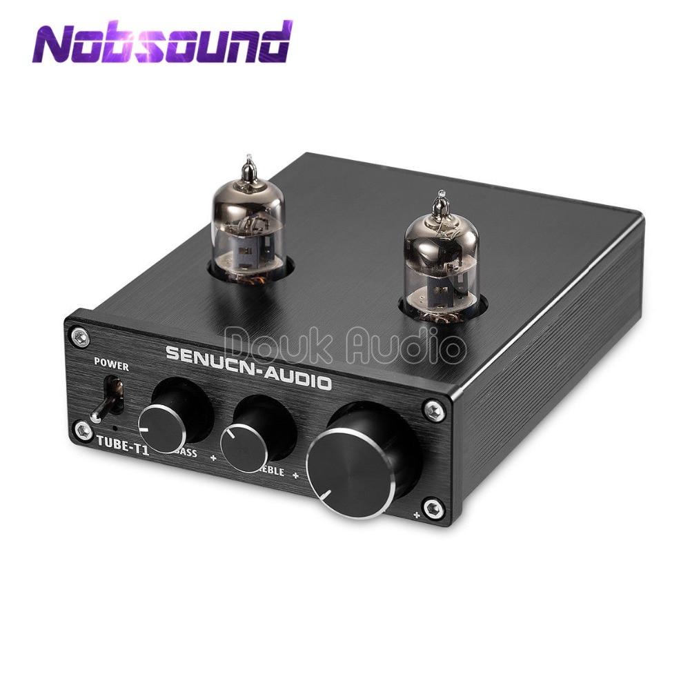 Tubo de Vácuo Digital de Controle de Tom Nobsound Mini Hifi Treble & Bass Preamp Amplificador Estéreo 6j1