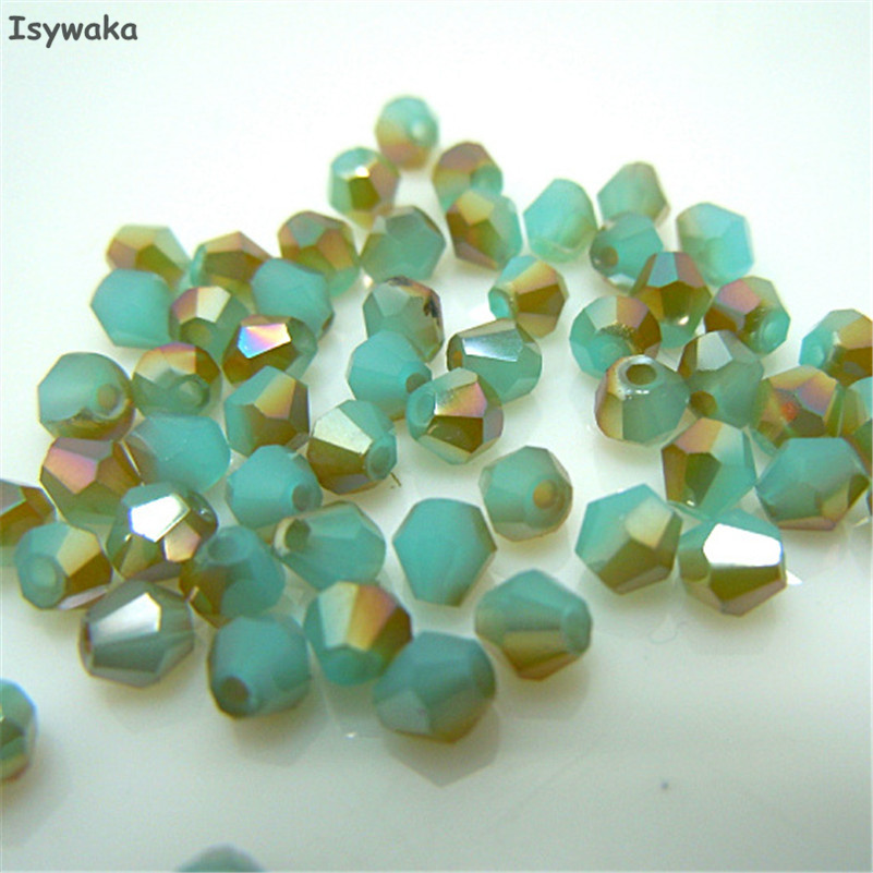 Free shipping Green golden 100pcs 4mm Bicone Austria Crystal Beads charm Glass Beads Loose Spacer Bead for DIY Jewelry Making
