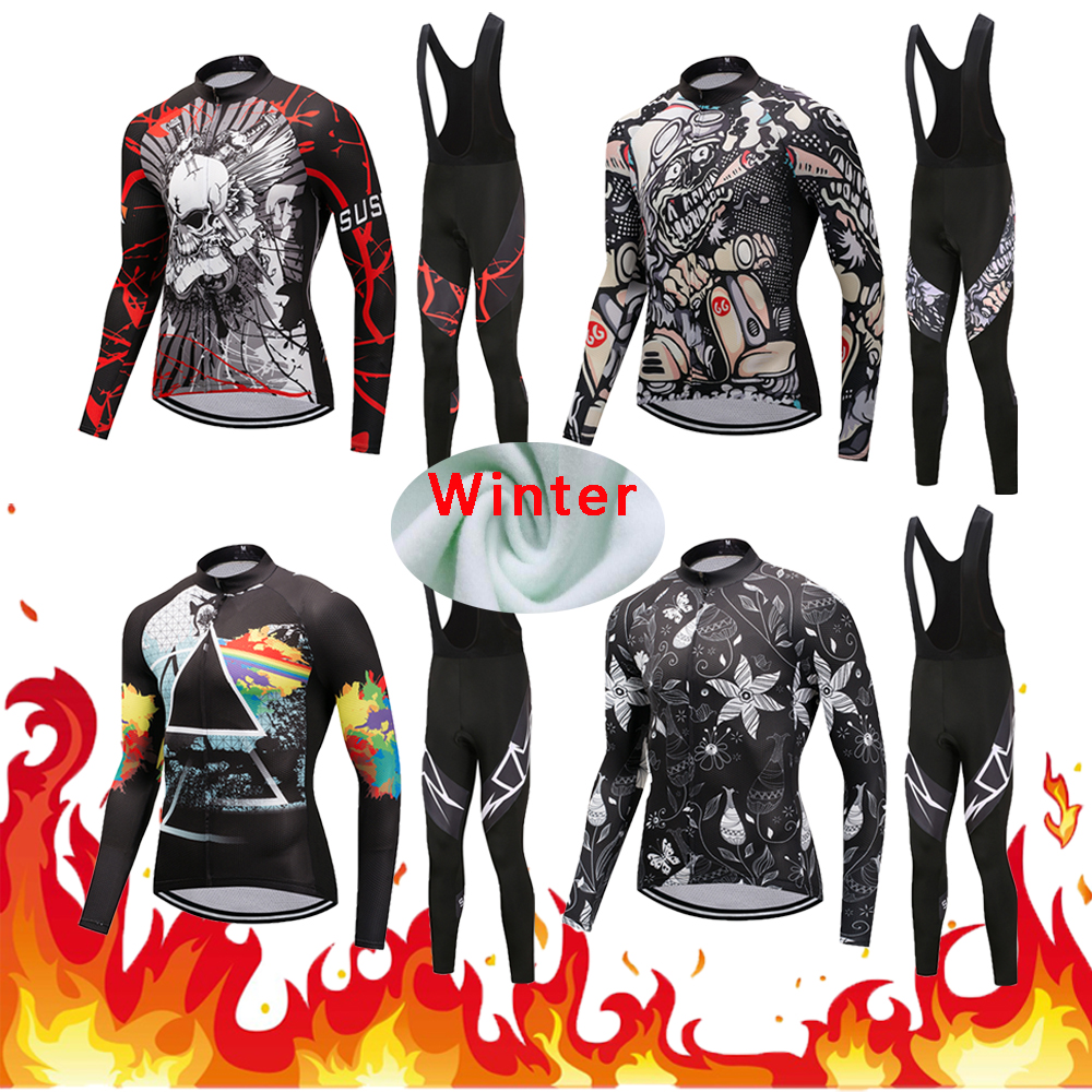 Men's Winter Thermal Fleece Pro Cycling Jersey Sets 2018 Male Racing Bike Clothes Kits MTB Maillot Bicycle Clothing Suits Wear