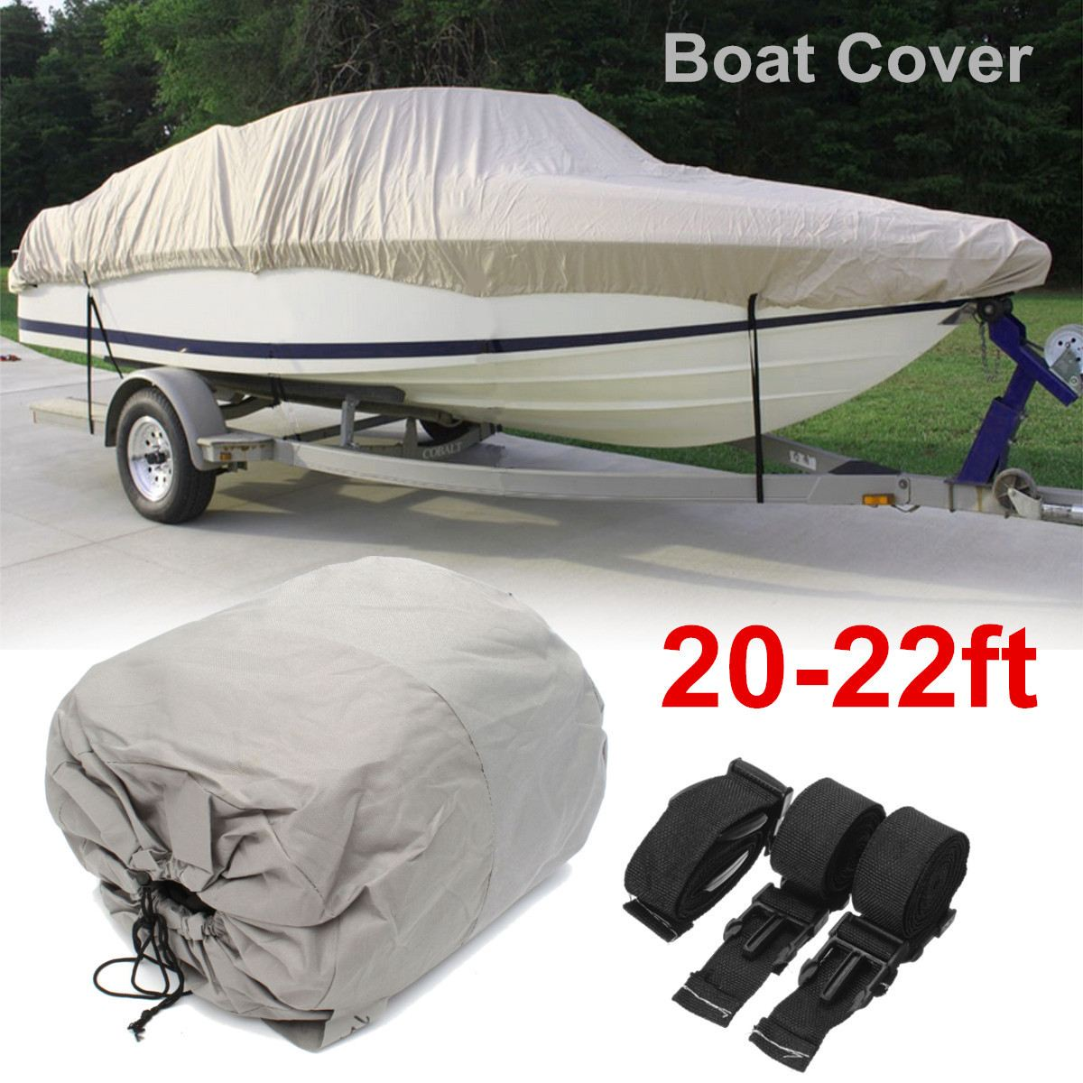 20-22ft 600D Grey Waterproof Heavy Duty Speedboat Boat Cover Fishing Ski VHull
