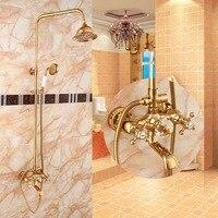 BECOLA Бесплатная доставка роскошный душевой набор золотой цвет душевой набор двухглавый Душ круглые дождевые насадки для душа HY 856