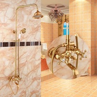 BECOLA free shipping luxurious shower set gold colour shower set two headed shower round rain shower heads HY 856