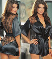 Sexy lingerie hot lenceria sexy black lace sheer back baby doll sexy lingerie for women exotic bathing robe bathrobe