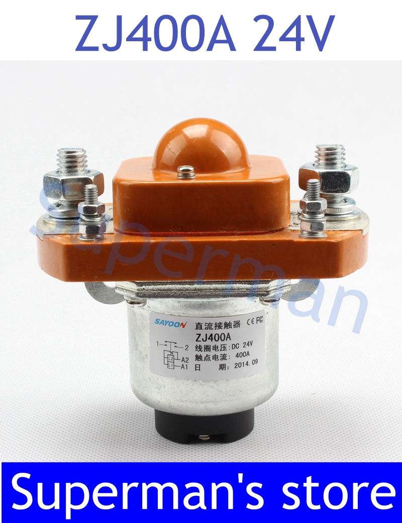 ZJ400A NO (normally open) style Coil Voltage 24V 400A DC Contactor for motor forklift electromobile grab wehicle car winch tesys k reversing contactor 3p 3no dc lp2k1201cd lp2 k1201cd 12a 36vdc lp2k1201dd lp2 k1201dd 12a 96vdc coil