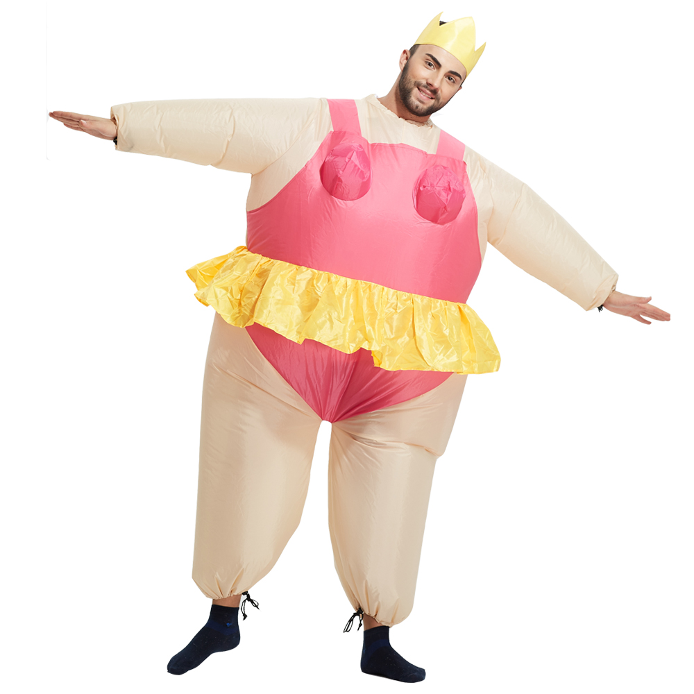 Newest Inflatable Ballet Costume Halloween Party Funny Fat Man Fancy Costume Animal Costume For Adults With Free Shipping
