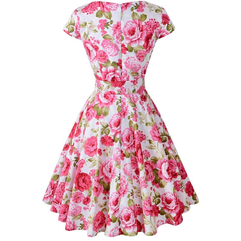 Flamingo Print Embroidery Dress Women 2018 Rockabilly Robe Party ...