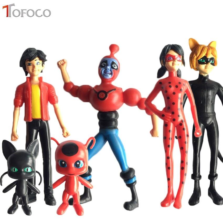 TOFOCO 6PCS Lady Bug Adrien Marinette Plast Miraculous Ladybug Action Figures Toy Tales of Ladybug & Cat Noir Model Toy Doll