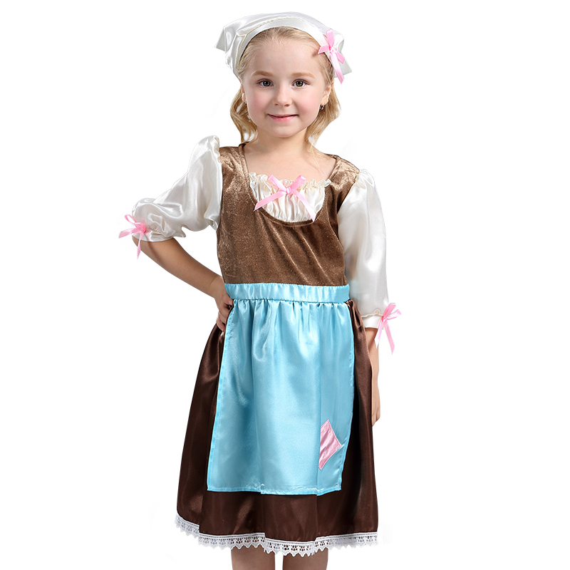 Child Cinderella Maid Cosplay Costume With Head Scarf Comfy Fairytale Fancy Outfit Perfect For Your Girl Everyday Play Age 3-8y