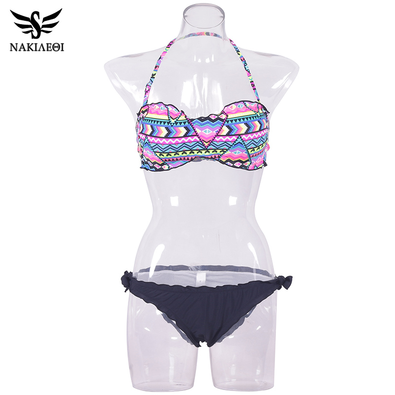 NAKIAEOI 2018 New Sexy Bandeau Bikini Women Swimwear Push Up Swimsuit Female Brazilian Bikini Set Printed Floral Bathing Suits 4